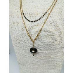 Collier pierre noire strass