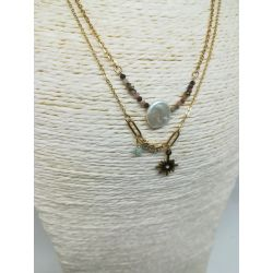 Collier strass nacre