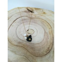 collier chaine pierre noire